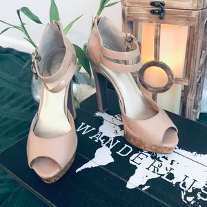 Nude peep toes shoes